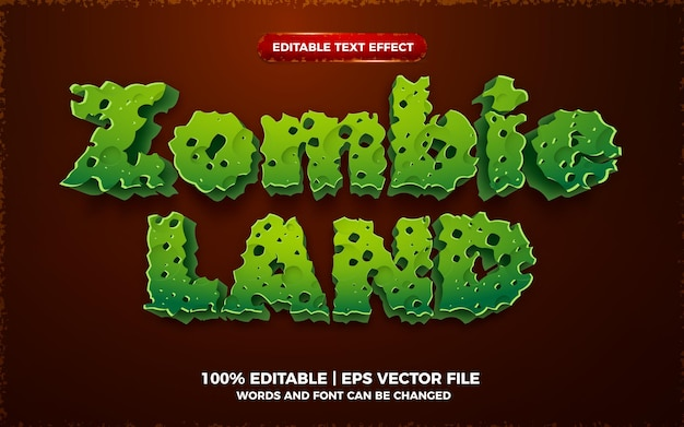 Efeito de texto editável em 3d zombie land