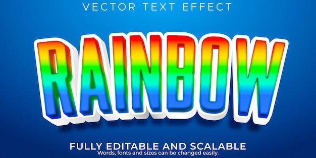 Efeito de texto editável em arco-íris, estilo de texto colorido e desenho animado