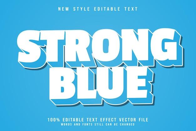 Efeito de texto editável em azul forte em relevo estilo moderno