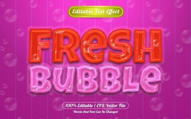Efeito de texto editável em bolha com tema claro