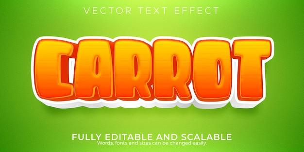 Efeito de texto editável em cenoura, estilo de texto orgânico e alimentar