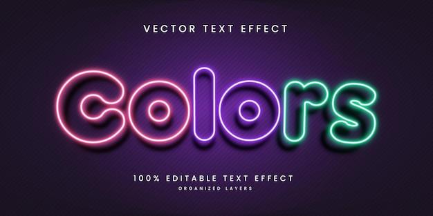 Efeito de texto editável em cores premium