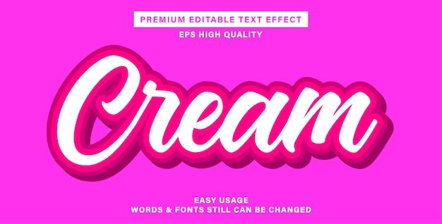 Efeito de texto editável em creme