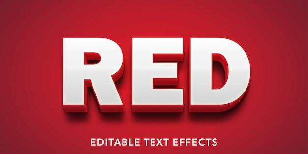 Efeito de texto editável em estilo 3d de texto vermelho