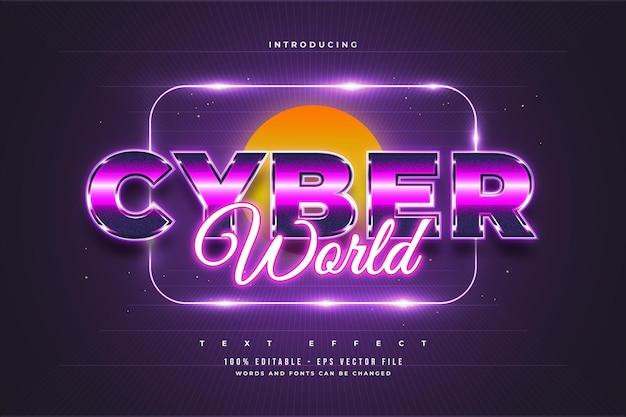 Efeito de texto editável em estilo cibernético colorido e efeito de néon brilhante