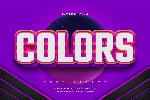 Efeito de texto editável em estilo colorido em negrito com efeito em relevo
