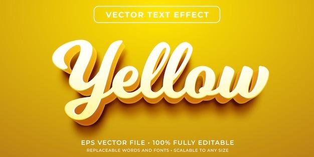 Efeito de texto editável em estilo cursivo amarelo