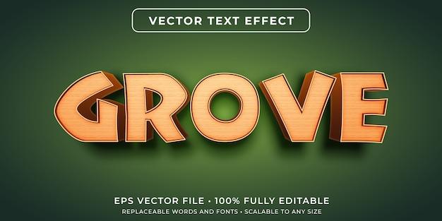 Efeito de texto editável em estilo de efeito de madeira