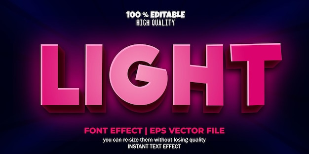 Efeito de texto editável em estilo de iluminação