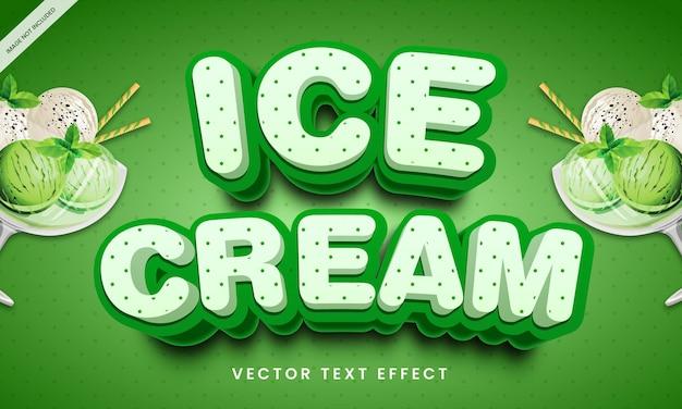 Efeito de texto editável em estilo de sorvete saudável