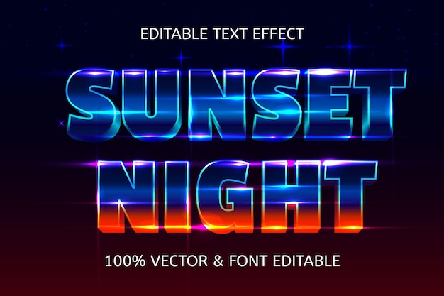 Efeito de texto editável em estilo retro da noite do pôr do sol