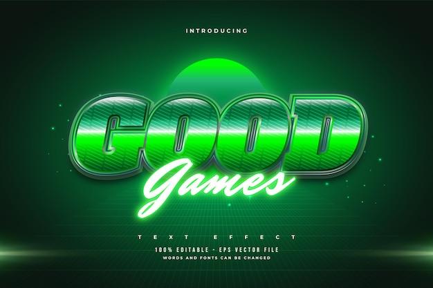 Efeito de texto editável em estilo retro verde e efeito neon brilhante