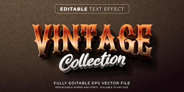 Efeito de texto editável em estilo vintage clássico