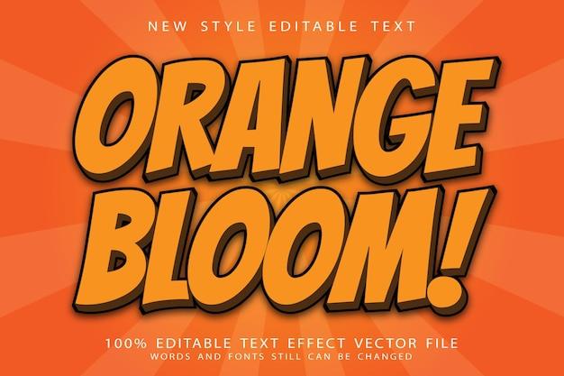 Efeito de texto editável em flor laranja em relevo estilo moderno