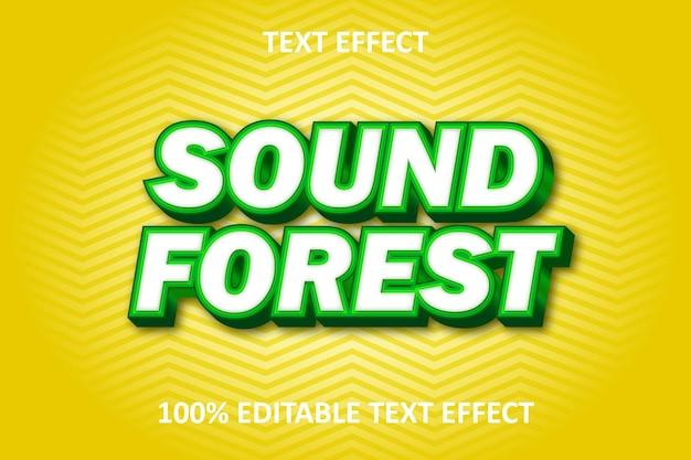 Efeito de texto editável em floresta verde amarelo