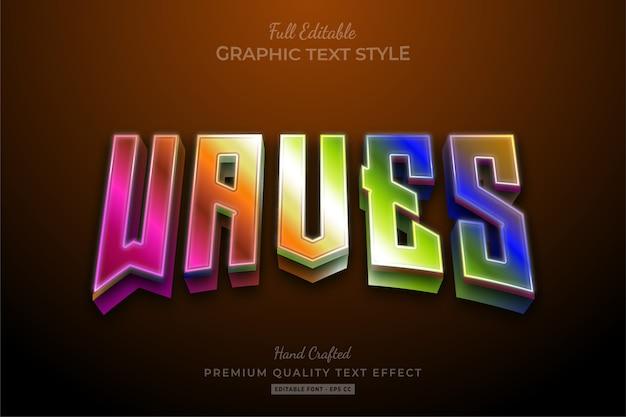 Efeito de texto editável em gradiente da waves 80