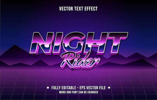 Efeito de texto editável em gradiente de cor retro estilo futurista dos anos oitenta