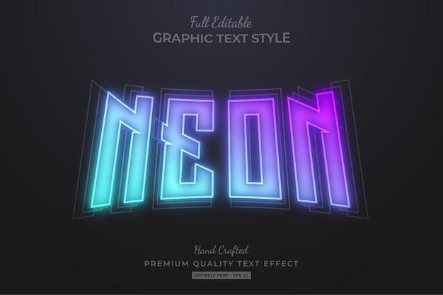 Efeito de texto editável em gradiente neon