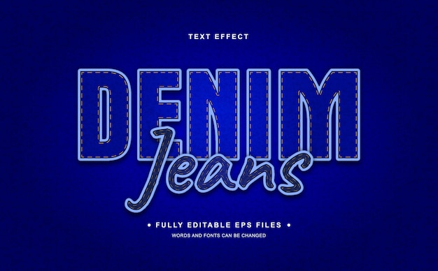 Efeito de texto editável em jeans