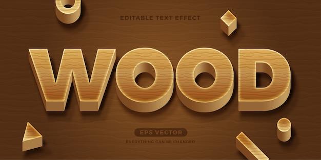 Efeito de texto editável em madeira
