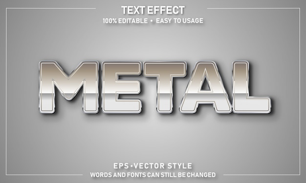 Efeito de texto editável em metal