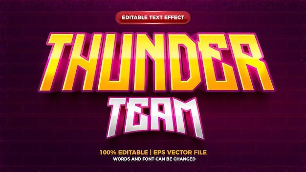 Efeito de texto editável em negrito 3d da equipe do jogo thunder esport