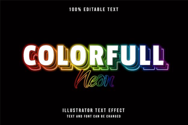 Efeito de texto editável em neon colorido