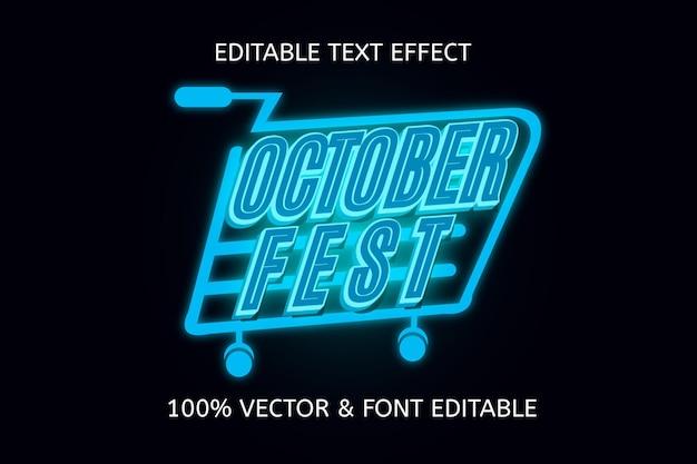 Efeito de texto editável em neon de estilo de venda de outubro