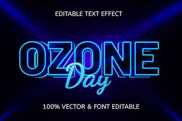 Efeito de texto editável em néon estilo dia do ozônio