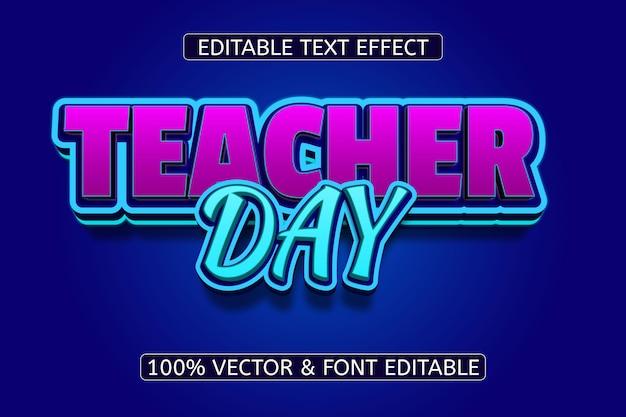 Efeito de texto editável em néon estilo dia do professor