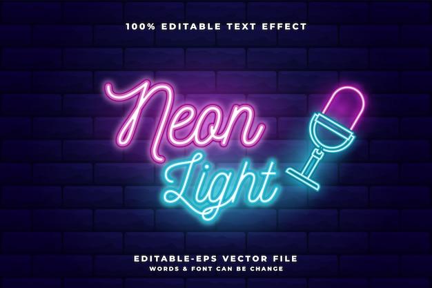 Efeito de texto editável em néon. luz neon