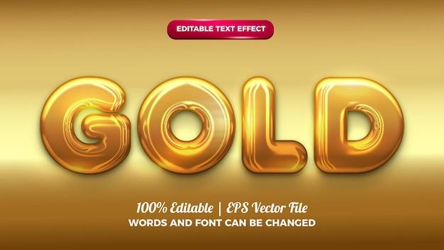 Efeito de texto editável em ouro cromado em negrito 3d