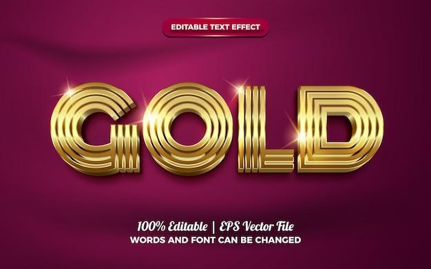 Efeito de texto editável em ouro luxuoso e brilhante em 3d