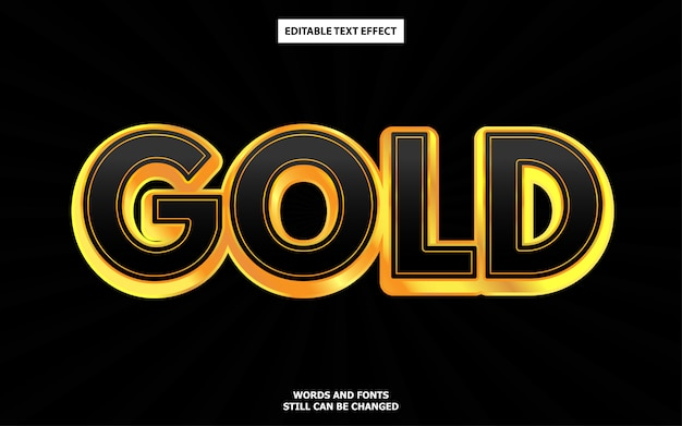 Efeito de texto editável em ouro preto