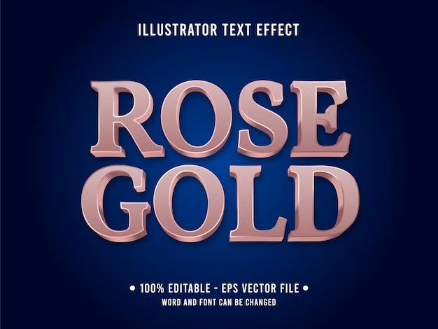 Efeito de texto editável em ouro rosa estilo 3d metálico com cor rosa