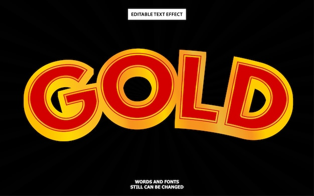 Efeito de texto editável em ouro vermelho