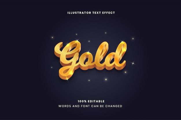 Efeito de texto editável em ouro