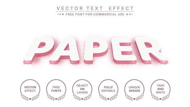 Efeito de texto editável em papel fatia, estilo de fonte