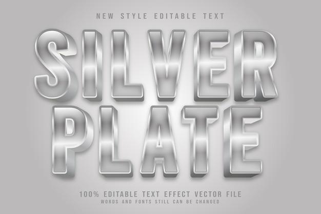 Efeito de texto editável em placa de prata em relevo estilo luxuoso