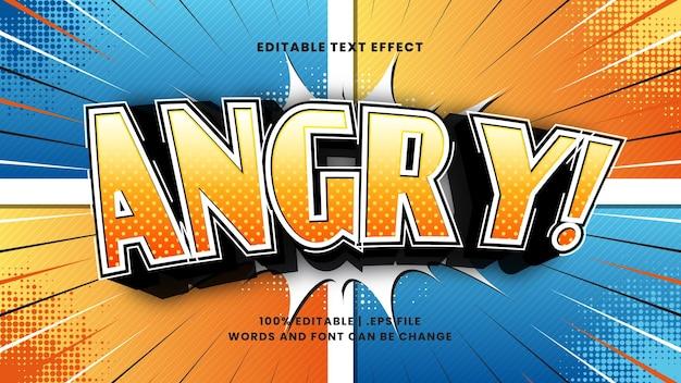 Efeito de texto editável em quadrinhos com raiva com estilo de texto de desenho animado