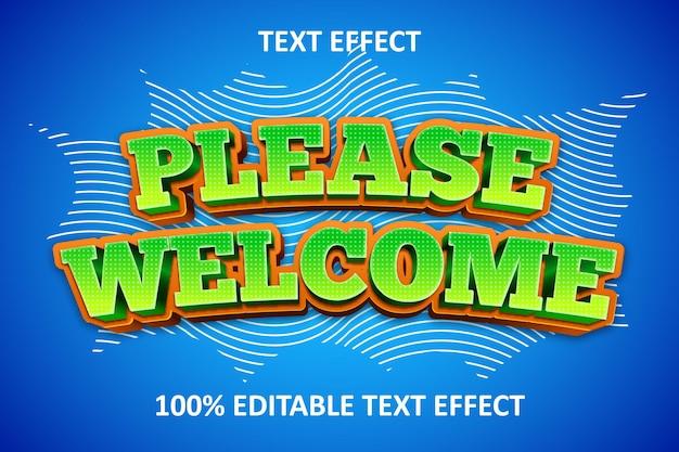 Efeito de texto editável em quadrinhos, por favor, bem-vindo