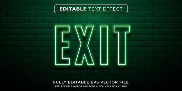 Efeito de texto editável em sinal de néon verde