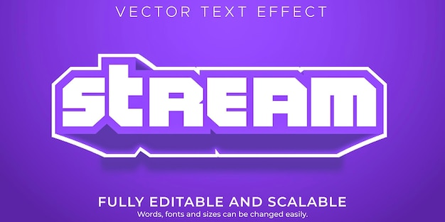 Efeito de texto editável em streaming, jogos e estilo de texto em streaming