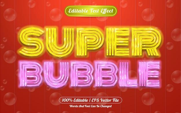 Efeito de texto editável em super bolha com tema claro