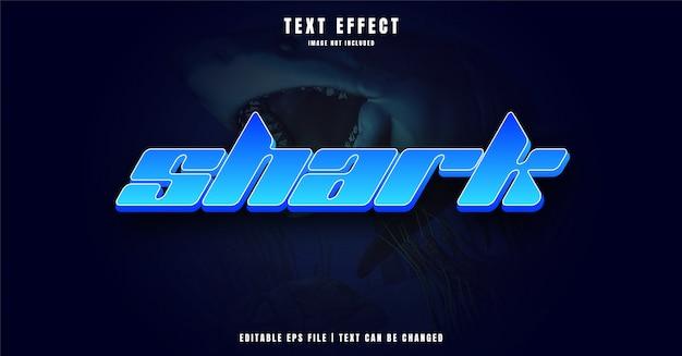 Efeito de texto editável em tubarão 3d