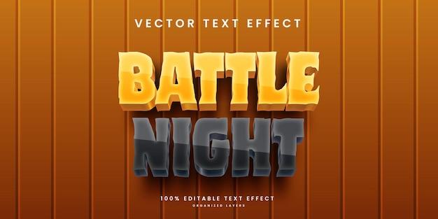 Efeito de texto editável em vector premium estilo noite de batalha