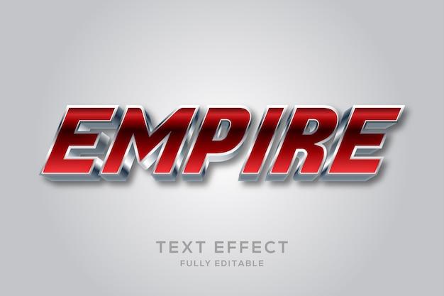 Efeito de texto editável em vermelho metálico moderno