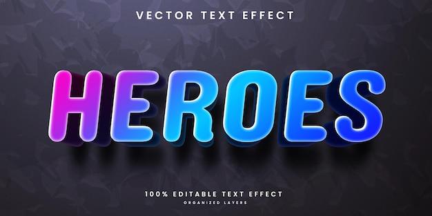 Efeito de texto editável em vetor premium colorido estilo heróis