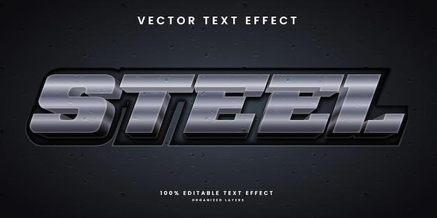 Efeito de texto editável em vetor premium de cor prata metálica e estilo de textura