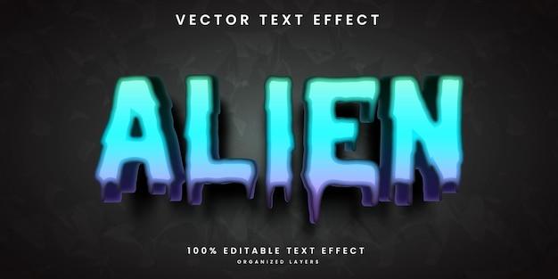 Efeito de texto editável em vetor premium de estilo alienígena